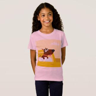 Camiseta Tshirt cor-de-rosa dos miúdos com CÃO do táxi