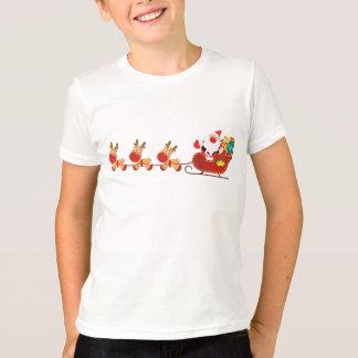 Camiseta Tshirt da campainha do Natal do trenó de Santa