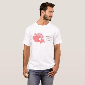 Camiseta TShirt da celebração de Canadá branco e vermelho