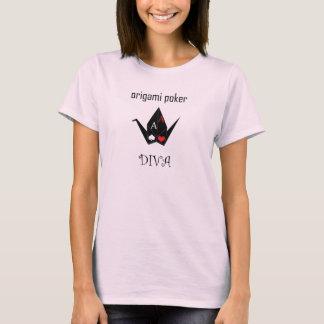 Camiseta Tshirt da diva do póquer de Origami