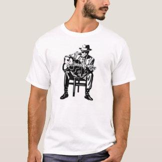 Camiseta tshirt da guitarra dos azuis do homem da música