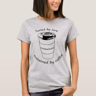 Camiseta Tshirt da maternidade: pelo amor e pelo café