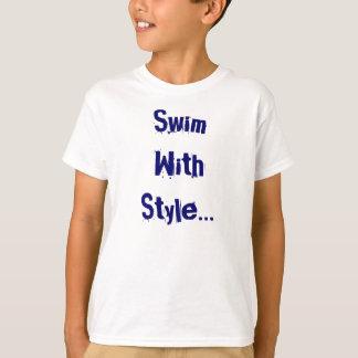Camiseta Tshirt da natação dos miúdos do estilo livre