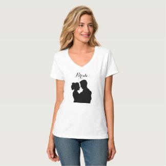 Camiseta Tshirt da noiva - silhueta da ilustração do casal