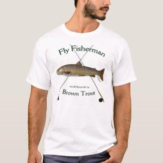 Camiseta Tshirt da pesca com mosca da truta de Brown