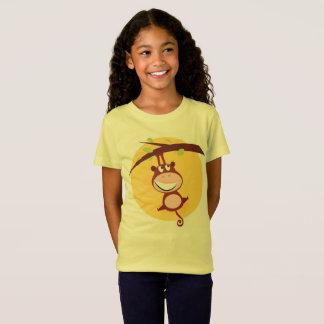 Camiseta Tshirt das meninas com macaco/AMARELO