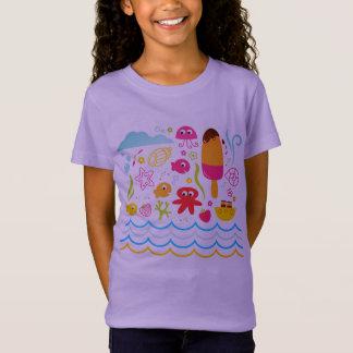 Camiseta Tshirt das senhoras com criaturas subaquáticas