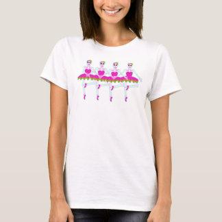 Camiseta tshirt de esqueleto do ouro do rosa quente das