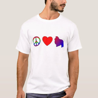 Camiseta TShirt de Shelties do amor da paz