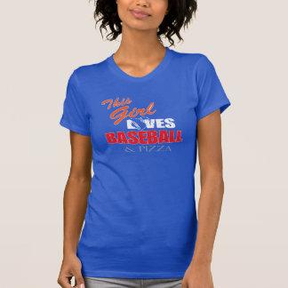 Camiseta Tshirt do basebol das mulheres - basebol e pizza