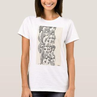 Camiseta Tshirt do Doodle da fachada de Femme