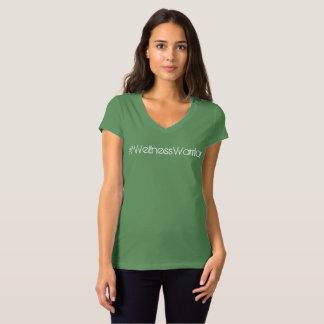 Camiseta Tshirt do v-pescoço da luva do boné das mulheres
