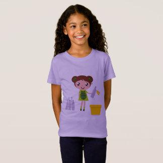 Camiseta Tshirt dos miúdos com reciclar/lavanda do caráter