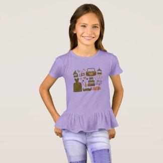 Camiseta Tshirt dos miúdos dos desenhistas com ícones/