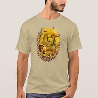 Camiseta Tshirt dourado Assyrian da porta de Lamassu e de