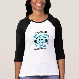 Camiseta Tshirt longo da luva da boa música da sensação de