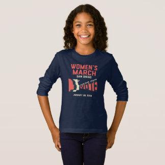 Camiseta Tshirt longo da luva do março San Diego das