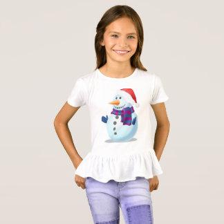 Camiseta Tshirt macio para o boneco de neve das Meninas-