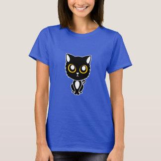 Camiseta Tshirt macio preto adorável do gatinho