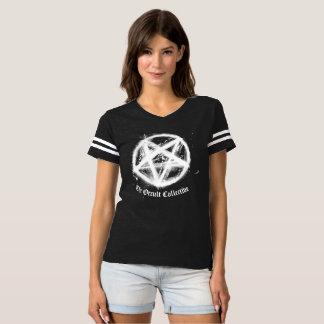 Camiseta Tshirt preto do jérsei do futebol do Pentagram das