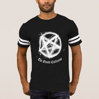 Camiseta Tshirt preto do jérsei do futebol do Pentagram dos