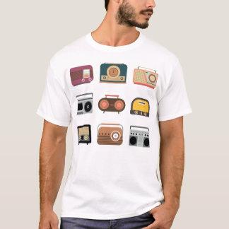 Camiseta tshirt retro de rádio da música do vintage