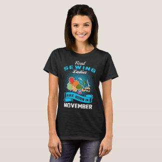 Camiseta Tshirt Sewing real do mês do nascer das senhoras