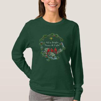 Camiseta Tudo é t-shirt brilhante do Natal da paz e da luz