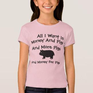Camiseta Tudo I Want é dinheiro e porcos