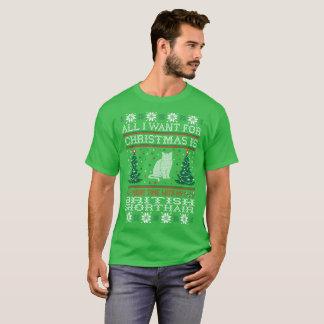 Camiseta Tudo que eu quero para o Natal Shorthair britânico