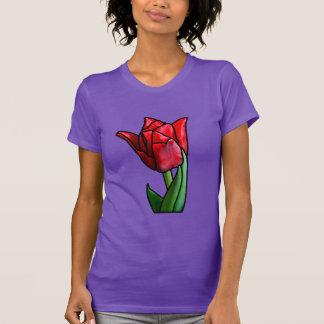 Camiseta Tulipa vermelha exótica do vitral