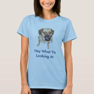 Camiseta Um cão engraçado de Pugle que diz Hey que Ya que