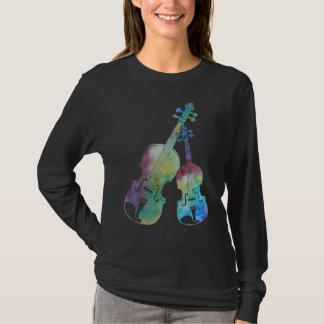 Camiseta Um dueto colorido do violino e da viola