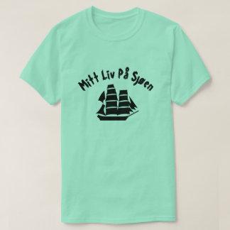 Camiseta Um navio de navigação com på do liv da luva do