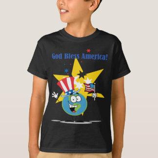Camiseta Um personagem de desenho animado do globo com