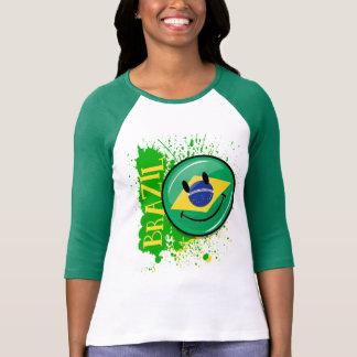 Camiseta Um respingo da bandeira de sorriso de Brasil