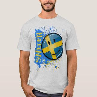 Camiseta Um respingo da bandeira de sorriso sueco