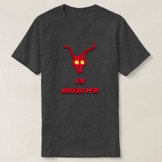 Camiseta Um rheolwr vermelho do Fy do crânio e do texto