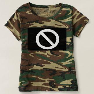Camiseta Um sinal de aviso em uma camuflagem
