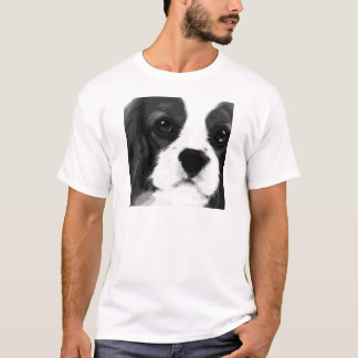 Camiseta Um spaniel de rei Charles descuidado preto e