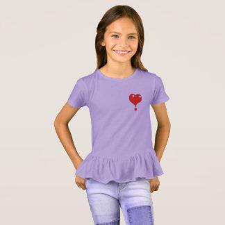 Camiseta um t-shirt das meninas do coração do vermelho