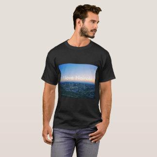 Camiseta Um t-shirt preto bonito com cidade de Nairobi