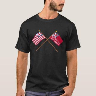 Camiseta União e bandeiras grandes cruzadas da liberdade de