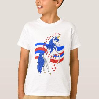 Camiseta Unicórnio azul branco vermelho do americano da