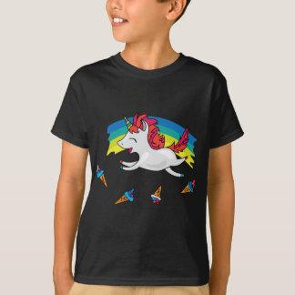 Camiseta Unicórnio bonito com ilustração legal do arco-íris
