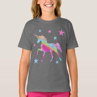 Camiseta Unicórnio do arco-íris e t-shirt das estrelas