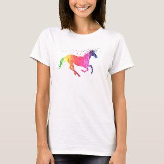 Camiseta Unicórnio do rosa de arco-íris
