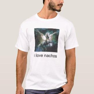 Camiseta unicórnio, eu amo nachos