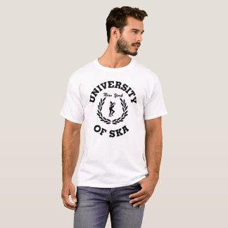 Camiseta Universidade do texto preto de Ska New York