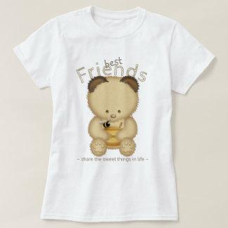 Camiseta Urso de mel bonito dos melhores amigos